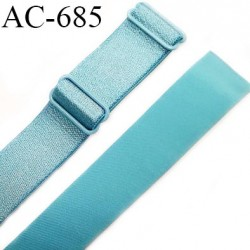 Bretelle 16 mm lingerie SG haut de gamme grande marque couleur bleu polaire 2 barrettes  prix à la pièce