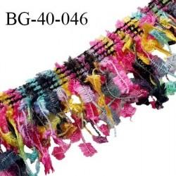 Galon franges 40 mm effet plumes multicolore rose jaune bleu et vert largeur bande 10 mm + 30 mm de franges prix au mètre
