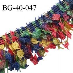 Galon franges 40 mm effet plumes multicolore rouge jaune bleu et vert largeur bande 10 mm + 30 mm de franges prix au mètre