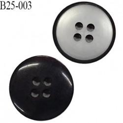 Bouton 25 mm en pvc 4 trous couleur gris brillant et contour noir diamètre 25 mm épaisseur 3.8 mm prix à l'unité