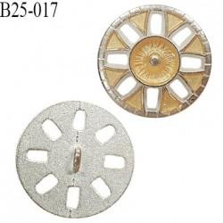 Bouton 25 mm métal accroche avec un anneau couleur jaune et argent diamètre 25 mm épaisseur 2.6 mm prix à l'unité