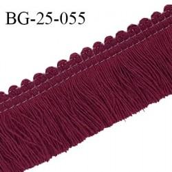 Galon franges 25 mm coton couleur bordeaux largeur de bande 7 mm + 18 mm de franges prix au mètre