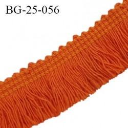 Galon franges 25 mm coton couleur orange largeur de bande 7 mm + 18 mm de franges prix au mètre