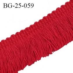 Galon franges 25 mm coton couleur rouge largeur de bande 7 mm + 18 mm de franges prix au mètre