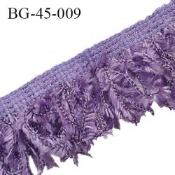 Galon franges 45 mm effet plumes couleur violet largeur bande 10 mm + 35 mm de franges prix au mètre