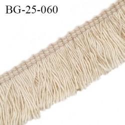 Galon franges 25 mm coton couleur beige largeur de bande 7 mm + 18 mm de franges prix au mètr