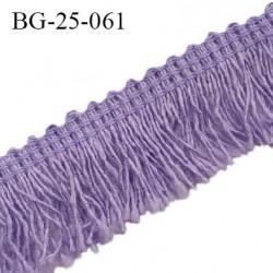 Galon franges 25 mm coton couleur violet largeur de bande 7 mm + 18 mm de franges prix au mètre