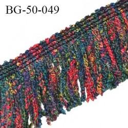 Galon franges 50 mm multicolore rouge jaune bleu et vert largeur bande 10 mm + 40 mm de franges prix au mètre