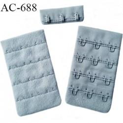 Agrafe attache 42 mm de soutien gorge 4 rangées 3 crochets largeur 42 mm hauteur 70 mm couleur gris fabriqué en France