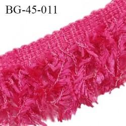 Galon franges 45 mm effet plumes couleur rose fushia largeur bande 10 mm + 35 mm de franges prix au mètre
