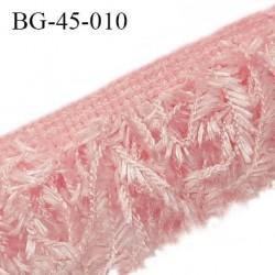 Galon franges 45 mm effet plumes couleur rose largeur bande 10 mm + 35 mm de franges prix au mètre