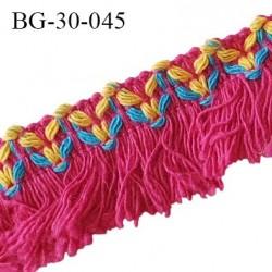 Galon franges 30 mm coton couleur rose jaune et bleu largeur de bande 12 mm + 18 mm de franges prix au mètre