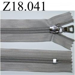 fermeture éclair invisible grise longueur 18 cm couleur gris non séparable zip nylon largeur 2.3 cm