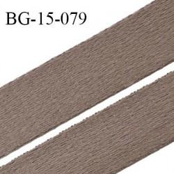 Devant bretelle 15 mm en polyamide attache bretelle rigide pour anneaux couleur terre d'ombre haut de gamme prix au mètre