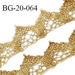 Galon lurex 20 mm effet dentelle couleur or largeur 20 mm prix au mètre