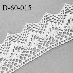 Dentelle 60 mm crochets coton couleur blanc largeur 60 mm prix au mètre