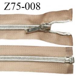 Fermeture zip 75 cm séparable glissière argentée torsadée largeur 7 mm curseur métal couleur sable largeur 3.2 cm prix à l'unité
