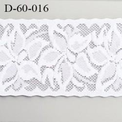 Dentelle lycra 60 mm blanche  élastique couleur blanc lumineux douce et souple prix au mètre