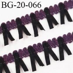 Galon ruban à franges style daim largeur 20 mm très doux couleur noir et prune vendu au mètre