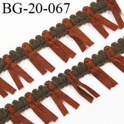 Galon ruban à franges style daim largeur 20 mm très doux couleur kaki et marron vendu au mètre