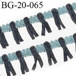 Galon ruban à franges style daim largeur 20 mm très doux couleur gris et bleu le mètre