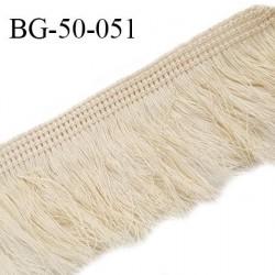 Galon franges 50 mm couleur beige largeur bande 10 mm + 40 mm de franges prix au mètre