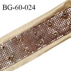 Galon 65 mm décor couleur doré imitation cuir et sequins métal couleur cuivre avec 2 oeillets tous les 2.5 cm prix au mètre
