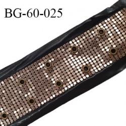 Galon 65 mm décor couleur noir imitation cuir et sequins métal couleur cuivre avec 2 oeillets tous les 2.5 cm prix au mètre