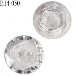 Bouton 14 mm effet cristal 2 trous diamètre 14 mm épaisseur 4 mm prix à l'unité