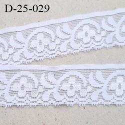 Dentelle 25 mm blanc lycra élastique largeur 25 mm motifs fleurs prix au mètre