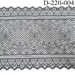 Dentelle 22 cm lycra brodé  très haut de gamme largeur 22 centimètres couleur gris très belle prix au mètre