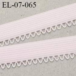 Elastique lingerie picot 7 mm + 2 mm picot couleur rose pétale grande marque  largeur 7 mm + 2  prix au mètre