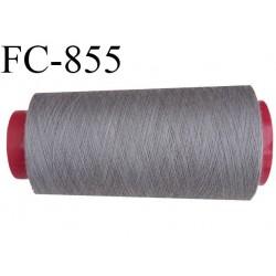CONE de 2000 m de fil polyester fil n° 50 couleur gris  longueur de 2000 mètres bobiné en France