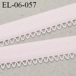 Elastique lingerie picot 6 mm + 2 mm picot couleur rose pétale grande marque  largeur 6 mm + 2  prix au mètre