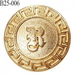 Bouton 25 mm en métal couleur doré accroche avec un anneau diamètre 25 mm épaisseur 2.8 mm prix à l'unité
