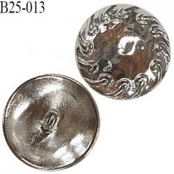 Bouton 25 mm en métal couleur argent accroche avec anneau diamètre 25 mm épaisseur 5 mm prix à l'unité