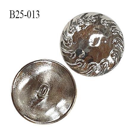 Bouton 25 mm en métal couleur chromé accroche avec anneau diamètre 25 mm épaisseur 5 mm prix à l'unité