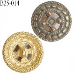 Bouton 25 mm en pvc bombé effet métal doré vieilli accroche avec un anneau diamètre 25 mm épaisseur 7 mm prix à l'unité