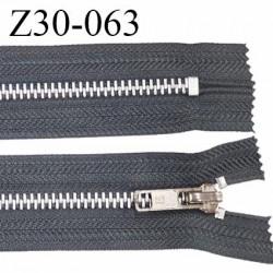 fermeture zip à glissière métal longueur 30 cm couleur gris foncé non séparable largeur 3.50 cm largeur du zip 6 mm