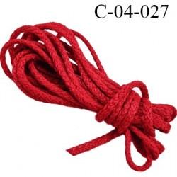 Cordon 4.5 mm en coton et synthétique très solide couleur rouge diamètre 4.5 mm prix au mètre