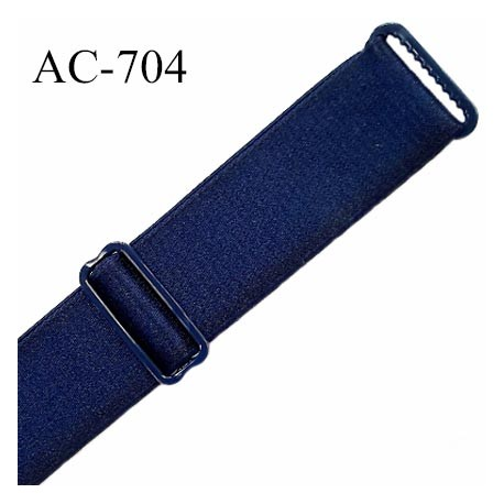 Bretelle 22 mm lingerie SG couleur bleu marine satiné finition avec 2 barrettes PVC largeur 22 mm  prix à la pièce