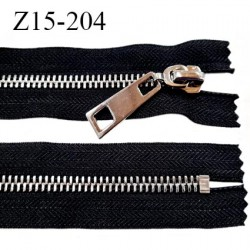 Fermeture 15 cm couleur noir non séparable zip glissière en métal couleur chromé largeur 3,8 cm largeur du zip 8 mm