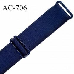 Bretelle largeur 19 mm longueur 18 cm lingerie SG couleur bleu marine satiné finition avec 2 barrettes PVC prix à la pièce