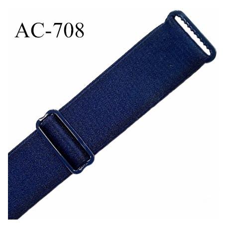 Bretelle 19 mm lingerie SG couleur bleu marine satiné finition avec 2 barrettes PVC largeur 19 mm  prix à la pièce