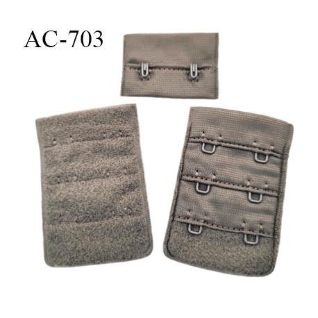Agrafe attache 38 mm de soutien gorge 3 rangées 2 crochets largeur 38 mm hauteur 58 mm couleur taupe clair fabriqué en France
