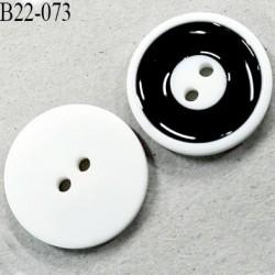 Bouton 22 mm 2 trous en pvc couleur naturel blanc et le noir brillant diamètre 22 mm épaisseur 4 mm prix à l'unité