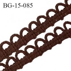 Galon boutonnière 15 mm couleur marron largeur 10 mm + picots boucles 5 mm prix au mètre