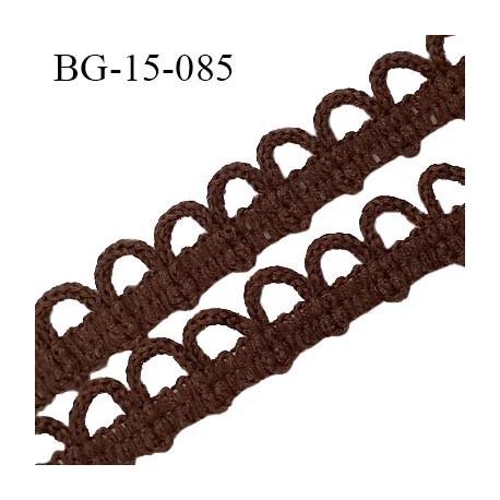 Galon boutonnière 15 mm spécial lingerie couleur marron largeur 10 mm + picots boucles 5 mm prix au mètre