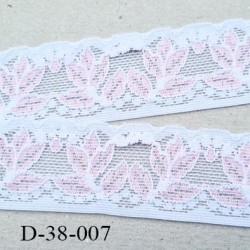 Dentelle 38 mm lycra extensible motif fleur largeur 38 mm couleur blanc et rose superbe prix au mètre