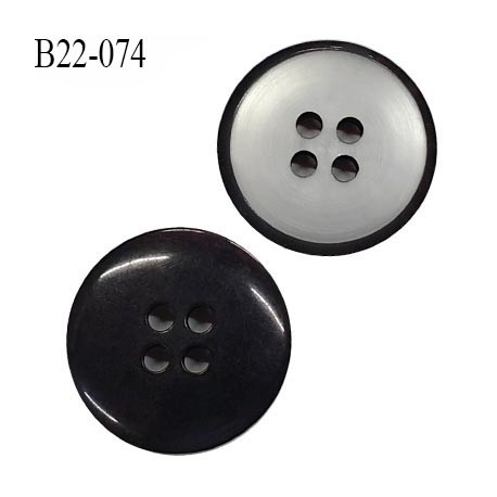 Bouton 22 mm en pvc 4 trous couleur gris brillant et contour noir diamètre 22 mm épaisseur 3.8 mm prix à l'unité